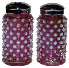 Fenton Hobnail Cranberry Opalescent No. 3806 Flat Shakers, pair