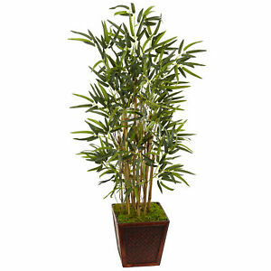Bamboo Tree In Square Wooden Planter Artificial Nearly Natural 4' Home Decor