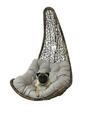 Brown Rattan Hanging Swing Egg Chair & Grey cushion Garden/Patio/Inside No Stand