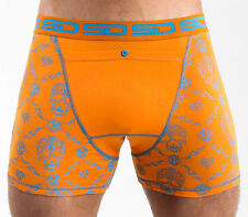 Smuggling Duds Orange-blue Skull Check Boxer Shorts XL