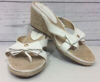 Anne Klein Thong Wedge Sandal AK Pointy Womens White 9M Slide Shoes