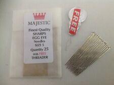 25 size 5 SHARPS EGG EYE hand sewing needles
