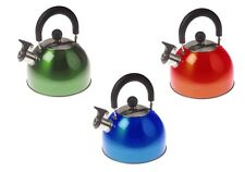 2ltr STAINLESS STEEL WHISTLING KETTLE camping caravan camp red blue green Brew