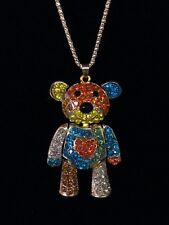 Betsey Johnson Necklace Teddy Bear Gold Multi Color Crystals Gift Box Bag Lk
