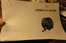VINTAGE S-52 AUTOMATIC FLY FISHING REEL PAPER W/ SCHEMATICS