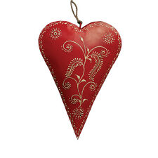 dotcomgiftshop RED RUSTIC HAND PAINTED BARLEY HANGING HEART DECORATION 17X23CM