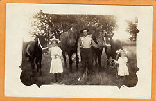 Real Photo Postcard RPPC - Man and Girls with Horses Bernard Ross Photo Muir MI