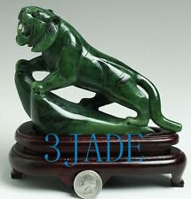 "6 1/2"" Natural Green Nephrite Jade Tiger Statue / Carving / Sculpture"