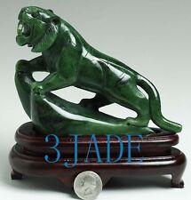 "6 1/2"" Natural Green Nephrite Jade Tiger Statue / Carving / Sculpture"