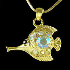 NEW w Swarovski Crystal Aquarium Long-nose Butterfly Fish Pendant Chain Necklace