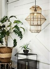 Natural Wooden Bamboo Design Ceiling Light LampShade Pendant Lighting & Cord