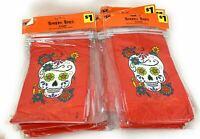 Halloween Dia De Los Muertos Orange Bakery Bags 4.75in x 9 in - Lot of 10