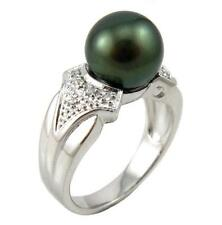 Top Quality 9-10mm Authentic Tahitian Black Pearl Ring in 925 Sterling Silver
