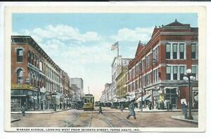 Terre Haute IN Indiana Postcard Street Scene Trolley