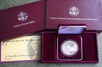 1993 Thomas Jefferson 250th Anniversary Proof 90% Silver Dollar Commemorative $1