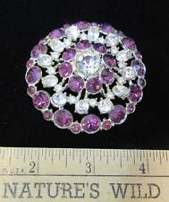 Rhinestone Brooch Pin White & Amethyst Purple Stones Round Shimmering 2.5""