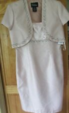 Ladies 12 2 pc, jacket dress, new, mauve pink, beading, short, Mother of Bride