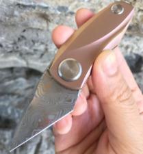 Bestech Tulip Frame Lock Knife Pink Ti Handle Damasteel Plain Blade BT1913I