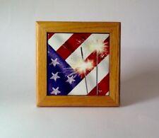 Oak framed glossy ceramic tile American Flag and Sparklers original artwork