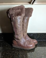 UGG Australia Tall Brown Leather & Suede Shearling Bomber Winter Boots 5162 Sz 5