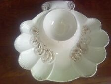 Clamshell Chip & Dip w/ Gold Highlights 60's or 70's? 2 Small Chips on Dip Rim