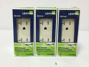 Lot Of (3) Leviton T5825-T Decora Duplex Outlet, 125 volts, Light Almond