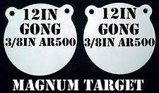 12in. Round 3/8in AR500 Steel Rifle & Pistol Gongs - 2pc Set.
