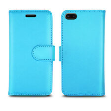 Flip Wallet Leather Cover Case for Apple iPhone Models Screen Protector Plain Blue I Phone 5 5s