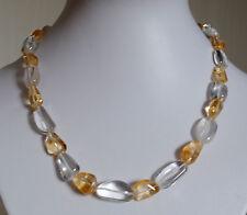 Bergkristall und Citrin Halskette, glatt polierte Edelstein Nuggets