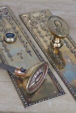 Antique Brass Door Knobs Matching Backplates Keyholes Hardware Vintage Edwardian