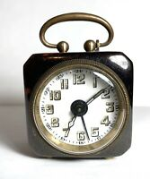 "Rare Antique German Miniature Desk Alarm Clock Mechanical-Working 2"" Tall"