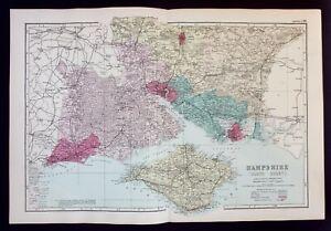 SOUTH HAMPSHIRE, SOLENT, original antique Victorian county map, Bacon, 1890