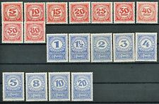 Austria Postage Due Issues of 1920 Complete Set of 19 MH Scott's J75 to J92