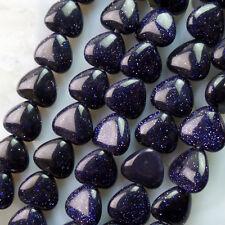 NTZ30 Beautiful 1 strand Blue Sand Stone heart loose bead 15.5 inch