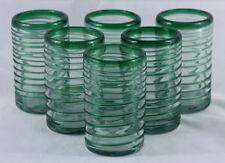 Spiral Green Rim Mexican Hand Blown Glasses Set 6 Glass Glassware Authentic