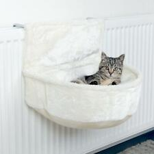 White Plush Semi Circular Radiator Cat Bed With Deep Lounging Recess Adjustable