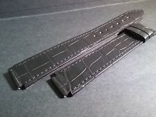 Milus band alligator BLACK-LONG 15mm (at watch), 18mm at buckle, with black stit