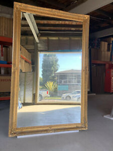 Wooden Mirror Large Gold Bevelled wall mirror & Frame Antique 184CM X 118CM