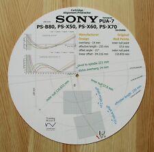 Sony PS-B80, PS-X50/60/70 & Sony PUA-7 tonearm Cartouche Alignement Rapporteur
