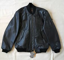 Alpha Industries MA-1 Leather  Bomber Flight Moto Jacket, Black, Medium