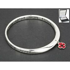 GIFT BOXED Equilibrium Silver Plated Bangle Poppy Quote Diamante Bracelet
