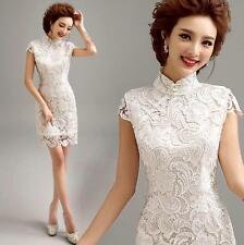 Formal White Lace Cheongsam Evening Prom Party Wedding Short Dress Ball Gown gf