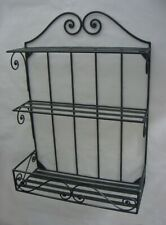 Wrought Iron 3-Tier Shelves, Decorative Scroll, Wall Rack, Indoor/Outdoor, Black