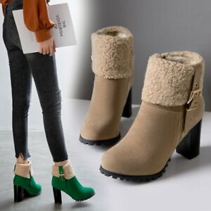 Ladies Retro Fur Trim Booties Autum Ankle Boots Block Heels Zipper Warm Shoes