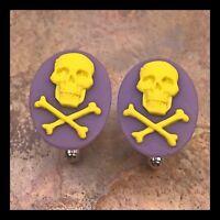 New Cufflinks White Blue Skull Crossbones Modern Resin Cameo Silver Setting P02