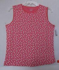 CJ Banks Size 3X Spring Print Sleeveless knit top, satin trim, coral & white NWT