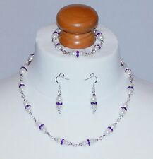 White Pearl & Purple Crystal Spacer Necklace, Bracelet & Earring Set - NEW