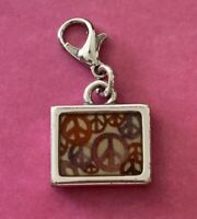 Brighton Peace Signs Colorful Pink Rectangle World Peace Silver Custom ABC Charm