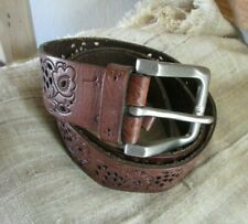 NEW FOSSIL 36 BROWN CUT WORK PATTERN LEATHER BELT