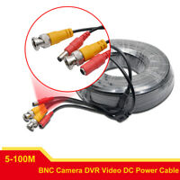 BNC DC CCTV Security Video Camera DVR Data Power Extension Cable 5M-100M